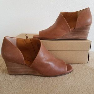 New Lucky Brand Tylera Leather Wedge Sandals